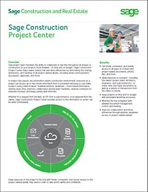 Sage Project Center Datasheet