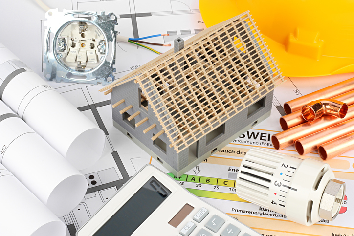 architecture residential house construction accounting and energy supply planing concept background