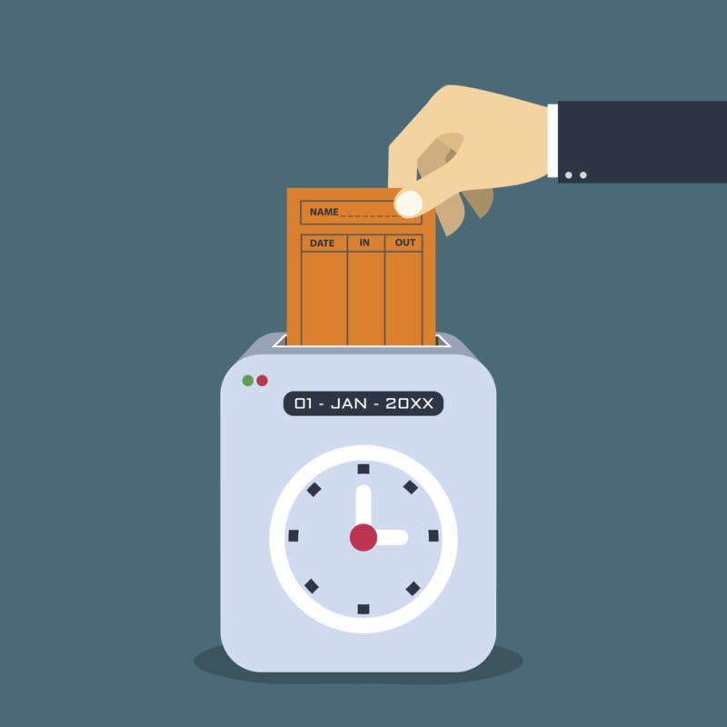 Hand putting paper card in time recorder machine. Flat style vector for time stamping concept....