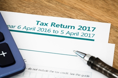 Income tax return form with tax period for 2017
